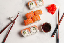 Overhead View Of Sushi Rolls W...
