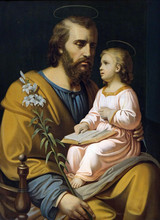 Saint Joseph Holding Child Jesus, Painting In The Saint Nicholas Church In Petschied Near Luson, Italy