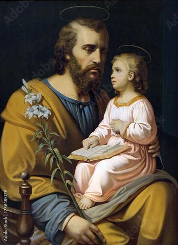 Saint Joseph holding child Jesus, painting in the Saint Nicholas church in Petschied near Luson, Italy