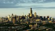 Aerial sunset view of downtown city skyscrapers Chicago Illinois US