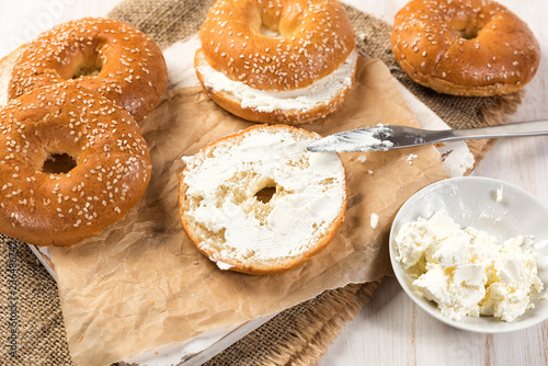 Fresh Homemade Bagel Sandwiches With Low Fat Cream Cheese Healthy