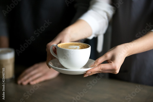 Fototapeta Close up of barista holding aromatic cappuccino, serving it to coffeeshop visitor, waitress giving cup of fresh brewed coffee with milk foam to cafe guest, bringing latte drink to coffeehouse table obraz