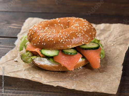 Fresh Homemade Bagel Sandwiches With Smoked Salmon And Low Fat Cream