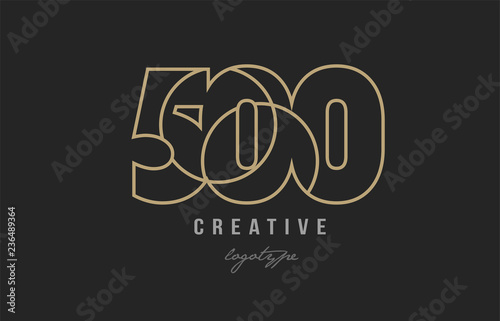 Fotografia  black and yellow gold number 500 logo company icon design
