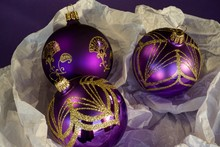 Sparkly, Elegant Purple And Gold Christmas Tree Baubles