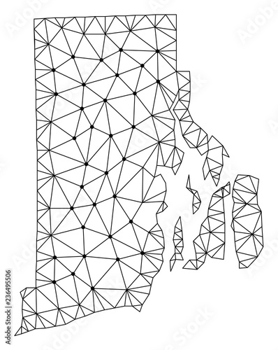 Fabulous Polygonal Mesh Map Of Rhode Island State In Black Color Abstract Wiring Database Indigelartorg
