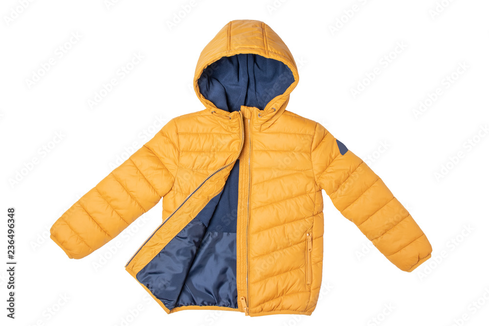 Fototapeta Childrens winter jacket. Stylish childrens yellow warm down jacket isolated on white background. Winter fashion.
