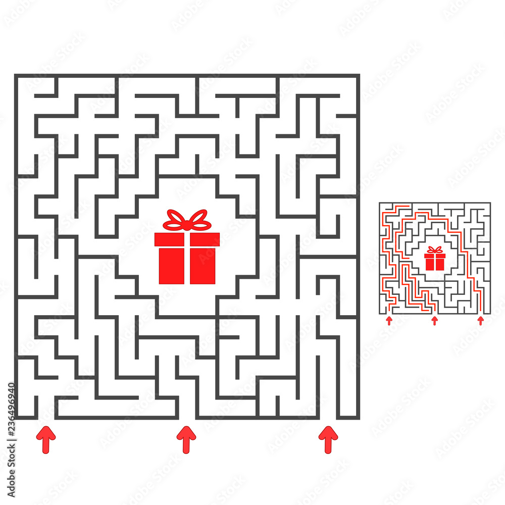 Fototapeta Abstract square maze. Find the path to the gift. Game for kids. Puzzle for children. Labyrinth conundrum. Flat vector illustration isolated on white background. With answer.