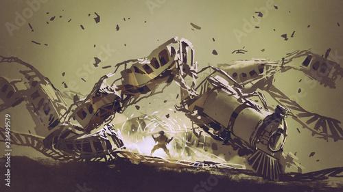 mężczyzna zwiększający energię, by zniszczyć pociąg, styl sztuki cyfrowej, malarstwo ilustracyjne