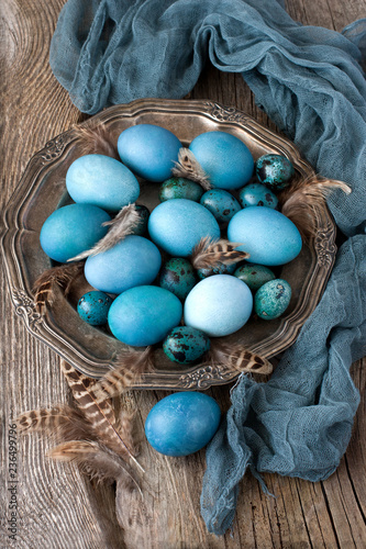 Easter still life with colorfull eggs