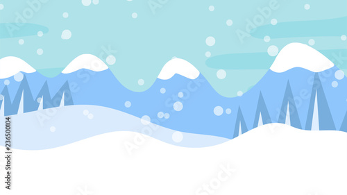 Foto auf AluDibond Licht blau Winter landscape with falling snow. Vector illustration.