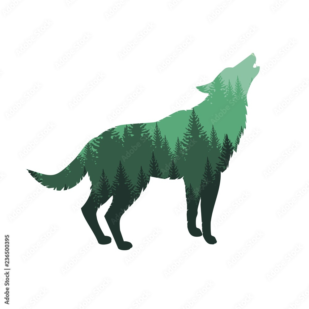 Силуэт волка