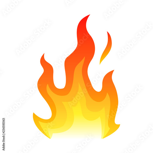 Photo Stands Fire / Flame Red fire flat icon isolated on white background for danger concept or logo design. Flame and red fire icon