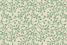 Vines And Ivy Background With Climbing Leaves In Green On A Pastel Yellow Background In A Pretty Charming Random Pattern Design, Hand Drawn Spring Floral Wallpaper
