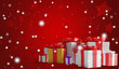 festive christmas presents with snowflakes 3d-illustration as christmas background