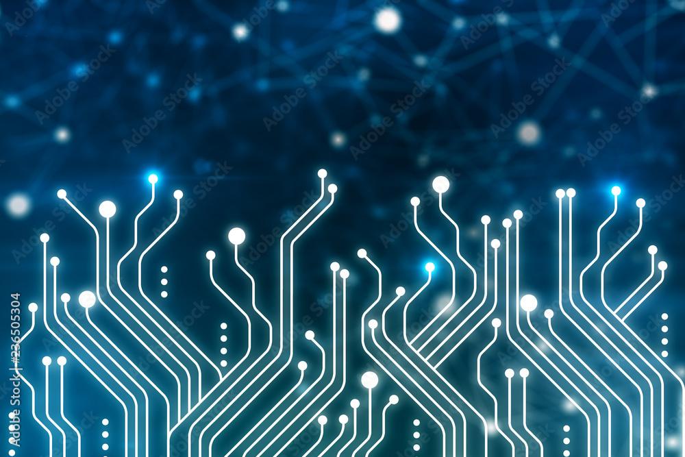 Fototapety, obrazy: Dark blue circuits background