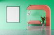 Leinwanddruck Bild - Green and red living room, sofa and poster