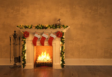 Fireplace With Christmas Decoration 3D Rendering