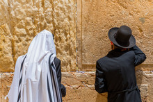 The Religious Orthodox Jews Pray At The Western Wall. Jerusalem, Israel.