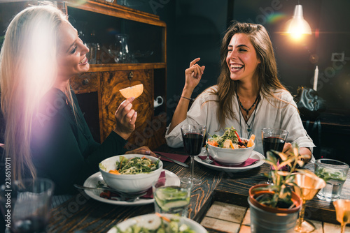 Women in Vegetarian Restaurant Having Fun