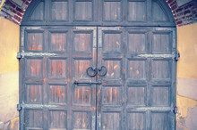 Ancient Wooden Door With A Bolt