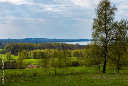 plain simple countryside spring landscape with fresh green meadows and forests
