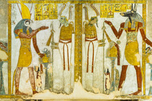 Ancient Mural Of  God Horus And Anubis