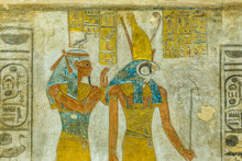 Ancient Mural Of The Egyptian Goddess Maat And The God Horus