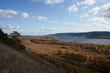 View on the Volga river and Zhiguli hills. The Autumn.