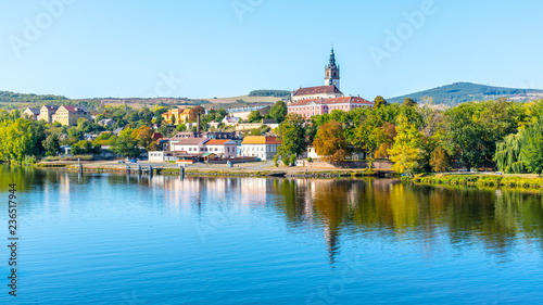 Photo  Panoramic cityscape of Litomerice reflected in Labe River, Czech Republic