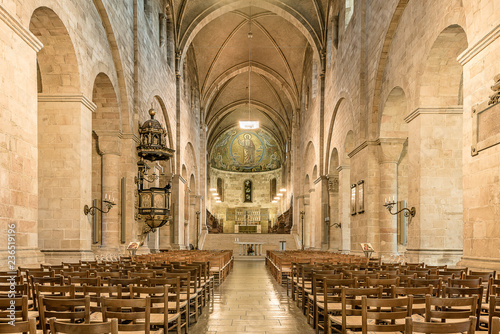 Fotografie, Obraz  The nave of Lund cathedral with altar and  mosaic