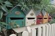 Kleine Briefkasten Häuser in bunt