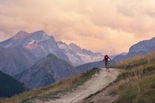 Man Mountain Biking Downhill Backcountry Dirt Trail