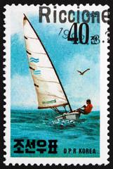 Fototapeta Postage stamp North Korea 1992 Pinclass yacht, yachting