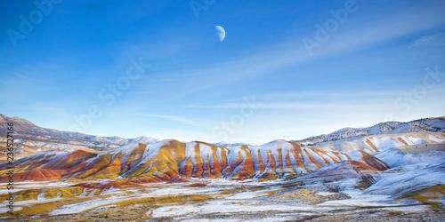 Fototapeta Oregon Painted Hills Moonrise Panorama obraz