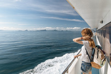 Woman Traveling By Ferry