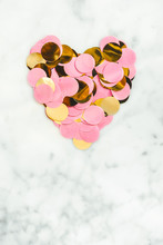 Heart Made With Pink And Gold Confetti
