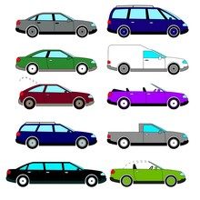 A Set Of Vector Sketches Of Ten Retro Cars That Were Released During The 1960s