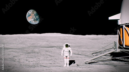 Cuadros en Lienzo  Astronaut on the moon near the lander salutes. 3D Rendering