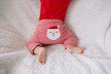 Baby Girl In A Christmas Clothes