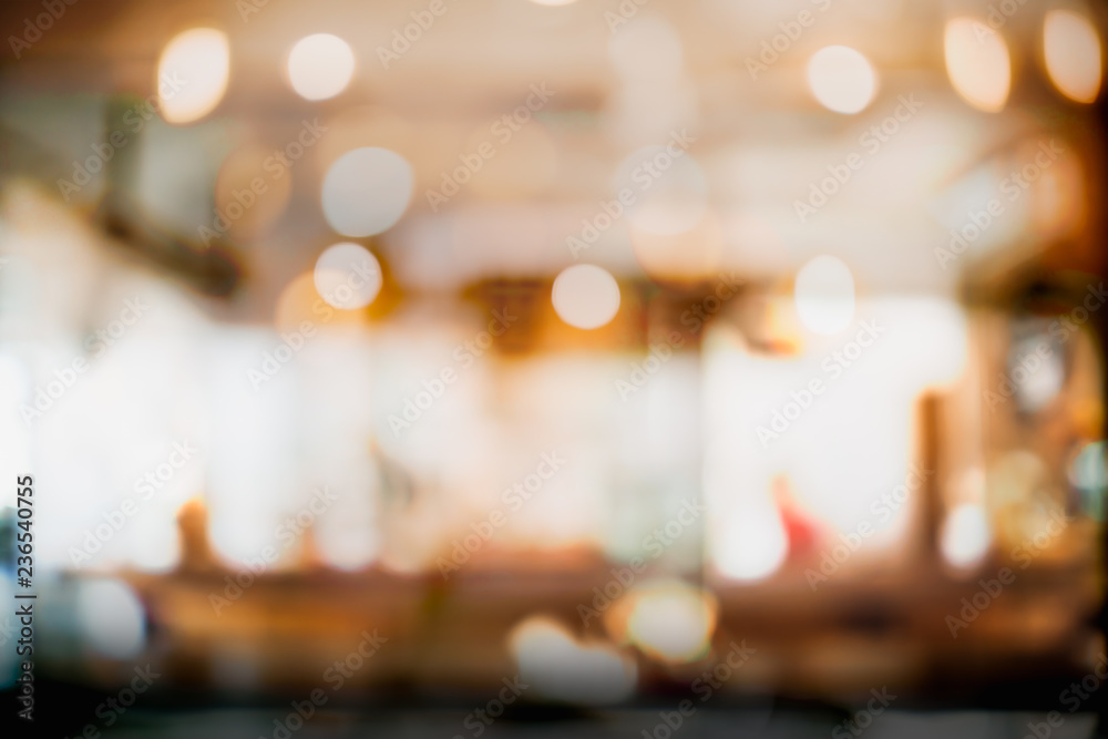 Fototapety, obrazy: Abstract blur and defocused interior coffee shop or cafe for background.