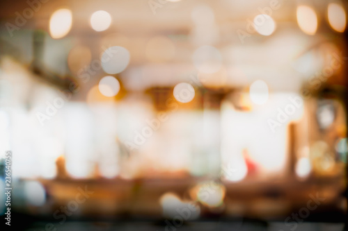 Vászonkép Abstract blur and defocused interior coffee shop or cafe for background