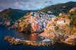 Riomaggiore of Cinque Terre, Italy - Traditional fishing village in La Spezia, situate in coastline of Liguria of Italy.