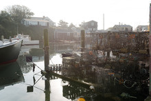 Morning View Of Seaport With Lobster Traps
