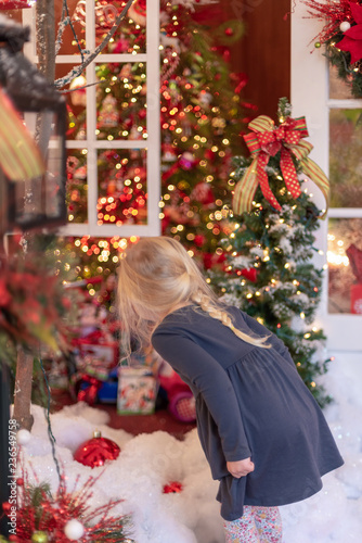 Fotografie, Obraz  Little blonde girl looking at holiday lights and decorations - vertical