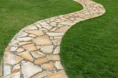 Fotografie, Obraz Stone path on green grass in the garden