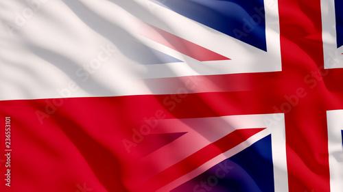 Fotografie, Obraz  Waving UK and Poland Flags