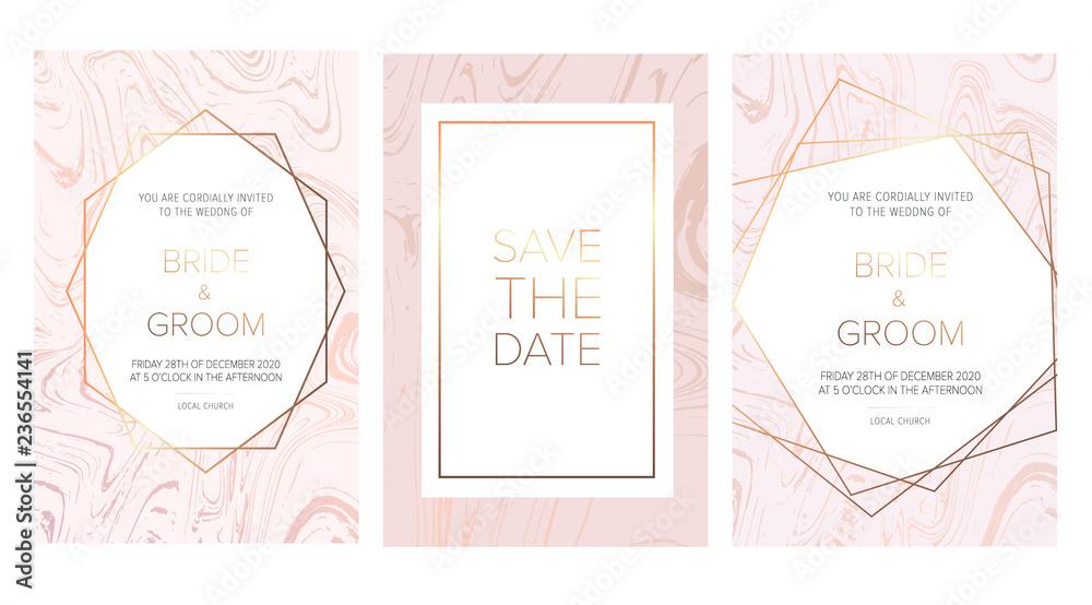 Plakat Luxury Wedding Invitation Cards With Rose Marble
