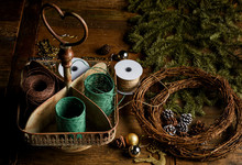 Gift Box And Decor Elements For Christmas Decoration