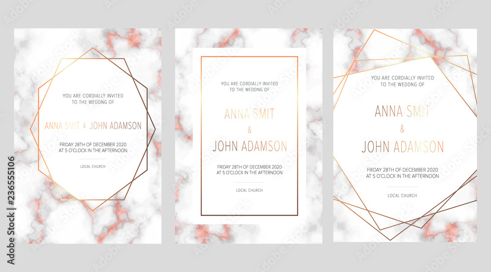 Luxury Wedding Invitation Cards With Rose Gold Marble